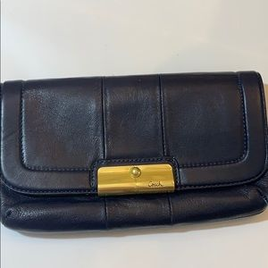"COACH Clutch Navy with Gold Accents 6"" x 9 1/2"""